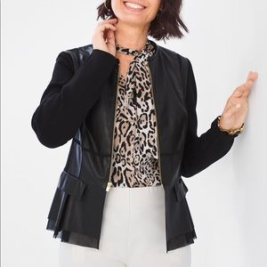 Chico's Faux Leather Peplum Jacket
